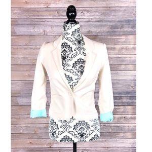 H&M blazer pink ivory size 2 2 button front chic